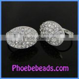 Wholesale Sexy Clear Rhinestone Pave Silver Plated Cheap Clip Earrings PEA06