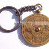 KEY CHAIN 50 YEAR CALENDAR - ANTIQUE BRASS KEY RING ITALIC CALENDAR - NAUTICAL BRASS KEYCHAIN