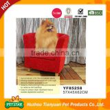 Strong Wood Frame Micro Suede Fabric Easy to Clean Red Dog Beds Sofa with Zippered Cushion