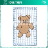 Brown Bear Strip Blue White Fabric Embroidery Clothing School Uniform Patches