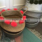 Seagrass basket,Hot selling Eco-friendly silver dipped seagrass belly basket with pompoms