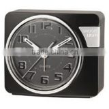 Black face touch LED light analog alarm clock