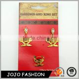 High quality gold plated crystal earrings and rings metal holloween jewelry set                                                                                                         Supplier's Choice