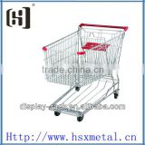 chrome metal supermarket cart /shopping cart with castor /shopping cart with seat HSX-S504