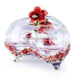 craft pewter design enamel color heart shape jewel case glass jewellery box wedding gift
