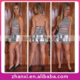 Stripes sexy bandage fancy designer ladies cotton pictures of design skirt suit two piece for girls