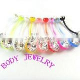 UV& acrylic belly button ring jewelry gem navel ring colorful body piercing ring