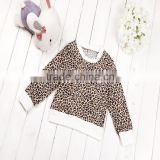 wholesale autumn cotton baby girl long sleeve cotton sweatshirts leopard printed children hoodies