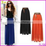 Sexy women Chiffon Pleated Maxi Long Dress Elastic Waist Bust Skirt