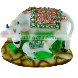 Vastu Hindu Religious Decorative Marble dust Polyresin Kamdhenu Cow and Calf Statue Idol