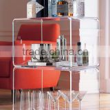Factory wholesale acrylic lucite juice bar cart with wheels