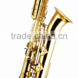 Gold lacquer Bb key bass saxophone