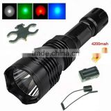 UniqueFire HS-802 white/red/green light CREE LED hunting torch light long range flashlight
