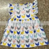 2017 fall pari dress for baby girl picture knitted chicken pattern flutter sleeve dress rotating kids clothes rack