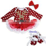 Xmas Baby Red Polka Dots White Ruffles Mustache Reindeer Long Sleeves Bodysuit Pettiskirt and Headband Crib Shoes NB-18M