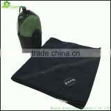 Factory custom gym towel with zip pocket golf towel with pocket sport towel with embroidery logo