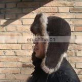 BY-R-H010 Rabbit Fur Winter Bomber Hat with High Quality
