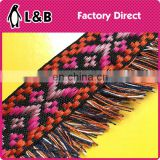 wholesale Hot selling elegant Jacquard cotton tassel trim, chemical cord trim with Jacquard fringe for clothes