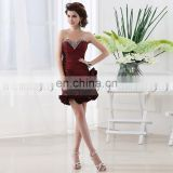 Fashion Mini Short Taffeta Lace-up Cheap Party Dress Sweetheart Sequin Flower Cocktail Dress
