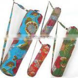 New kantha Quilt Yoga Mat bags wholesale Lot with Zipper India Indian Handmade Designer Fruit Print With Kantha Yellow Yoga Bag