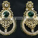 Top Designer Trendy Wedding Collection Gold Plated Kundan Earrings Set In Green Color