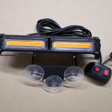 2-COB White Amber Yellow Light Emergency Suction Dash Windshield Warning Strobe Flashing LED Construction
