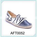new arrivals wholesale flat TPR zebra strips PU custom hand straw espadrilles canvas shoes