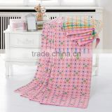 Top quality super breathable cotton dot printed jacquard colorful beach towelling coverlet