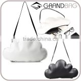 Black and White Genuine Leather Special Cloud Shape Shouder Bag Clutch Handbag for lady