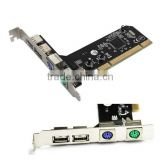 100% new PCI 32bit to 2xUSB 2.0+2xPS2 PS/2 Port For PC Keyboard Mouse Combo Adapter Card