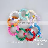 Fashion bead shape mix color silicone bracelets , 2015 lucky beads bracelet