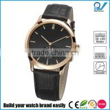 PVD rose gold stainless steel case steel back watch Sapphire glass with white double genuine leather