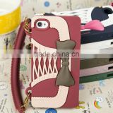"2013 Newest Silicone Bowknot Wallet Fancy Luxury Cell Phone Cases for iphone4/4S/5 ""11"""