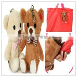 plush shopping bag/bear shape with shopping bag inside plush bag/cotton shopping bag/shopping bag with bear toy