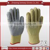 Seeway 2016 protective Para-Aramid gloves fireproof cut resistant Para-Aramid gloves with cow leather sewing