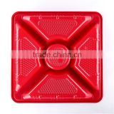 Red Color 5 Compartments Disposable Sushi Plastic Plate For Japanese Resturant Packaging Box Party Tray