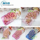 New Product Plastic Peacock Crystal bling diamonds case for apple iphone 4 4S 5 5S, for iphone 5s case 9 Colors China supplier