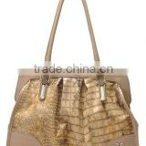 Metallic gold crocodile embossed pu shoulder bags 2012 newest hot sell summer fashion handbags