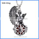 Angel Wing Peace Symbol Musical Sound Mexico Harmony Pregnancy Hollow Chime Box Cage Necklace BAC-M028