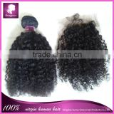 Cheap price Brazilian virgin hair bundles with lace closure kinky curly top closure and hair extensions in natural color