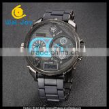 WJ-5419 black stainless steel LED and quartz calendar world time fashion waterproof V6 men watch