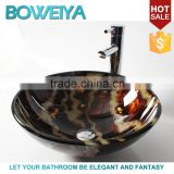Low Price Small Size Hand Paited 12mm Thickness Tempered Glass Round Shaped Wash Basin for Shower Room