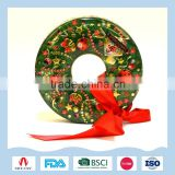 Metal wreath shape gift tin box for candy or biscuit packaging on Christmas
