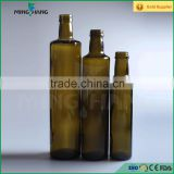 Wholesale 250ml Dark Green Amber Screw Top Round Cooking Oil Bottle Glass Olive Oil Bottle