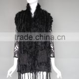 Top quality hot sale Women Black knitted rabbit fur vest