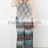 Summer plus size pants for fat women, print woven fabric pants and trouse SYK15340