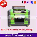 New design factory price A3 uv flatbed printer for printing pvc id card,1440dpi