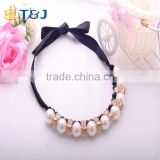 s>>>> Pearl Choker Collar Vintage 2015 New Ribbon Bead Rhinestone Chain Necklaces Pendants Women Jewelry Gifts/