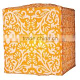Mango Orange Block Printed Square Paper Lantern for wedding party decoration