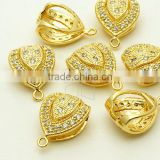 CZ Teardrop Pendant - Cubic Zirconia Earring Drop Components - Cubic Zirconia Earring Findings - Gold Plated Earring